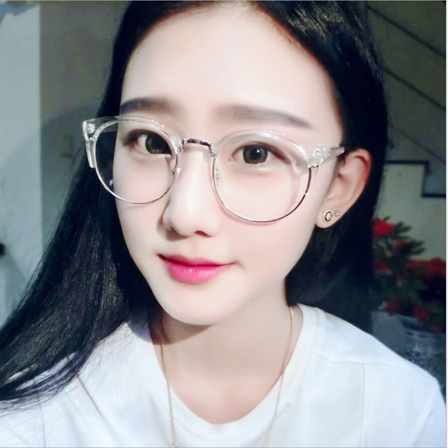clear fashion round transparent glasses frame women semi rimless nerd female grade points decoration eyeglass with