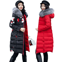 купить 2019 winter women hooded coat fur collar thicken warm long jacket female plus size 3XL outerwear parka ladies chaqueta feminino по цене 1565.75 рублей