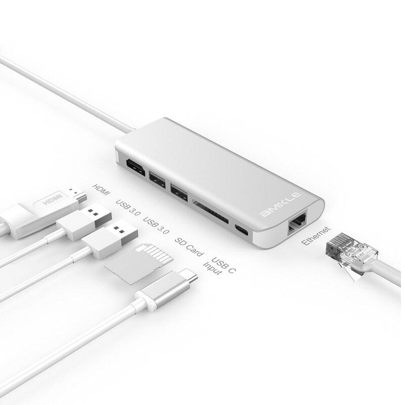 Adaptateur HDMI OLOEY adaptateur RJ45 Gigabit Ethernet USB c vers adaptateur HDMI type c avec lecture de carte USB3.0 PD charge pour tablette Macbook
