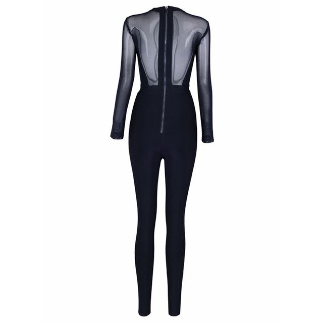 Celebrity Party Bandage Jumpsuit Women Black Long Sleeve O-Neck Mesh Sexy Night Out Bodycon Bodysuit 5