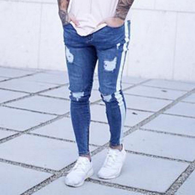 NIBESSER, мужские брендовые обтягивающие джинсы, брюки, повседневные брюки,, джинсовые черные джинсы, homme, Стрейчевые узкие брюки размера плюс, уличная одежда 3XL - Цвет: light blue 3