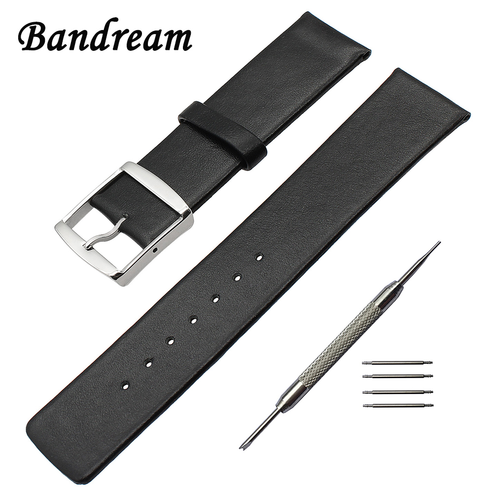 Super Thin Genuine Leather Watchband 16mm 18mm 20mm 22mm 24mm Universal Watch Band Men Women Strap Stainless Steel Clasp Belt zlimsn genuine leather watchband bracelet 24mm 22mm 20mm thick watch strap belt with clasp wristwatch accessories band