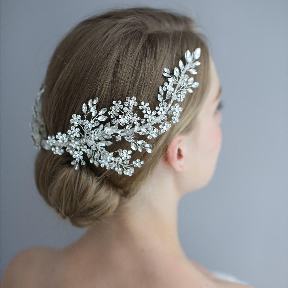 Strass Stirnband Hochzeit Haar Zubehör Braut Tiaras Clip Stirnband Elegante Blume Hochzeit Stirnbänder Für Braut Accesorios
