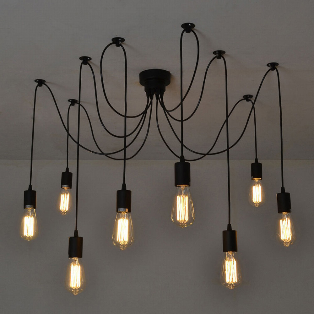 Antique Classic Ajustable DIY E27 Bulb Base 8 Arms for Ceiling Spider Lamp Light Retro Chanderlier Edison Pendant Lights