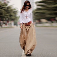 2018 Spring Autumn long Linen skirts women's casual pockets maxi skirt plus size solid color cotton linen bud skirts