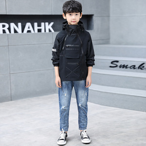 Image 3 - Children outerwear teenager trench coats boys coats and jackets letter printed boys hooded Windproof kids jacket windbreaker