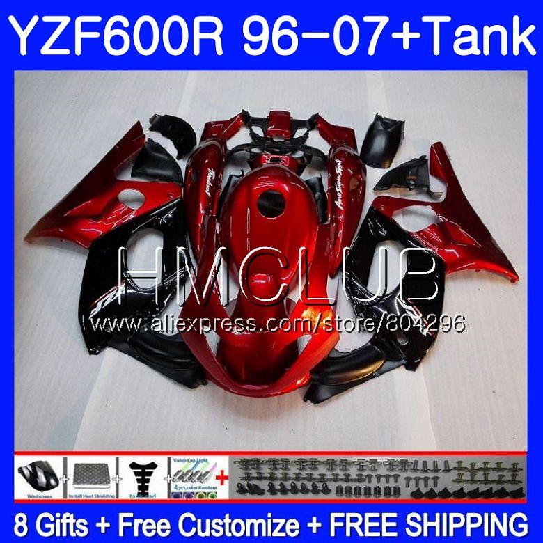 Kit Perle rouge blk Pour YAMAHA Thundercat YZF600R 96 97 98 99 00 01 99HM11 YZF 600R YZF-600R 1996 1997 1998 1999 2000 2001 Carénage