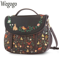 Vintage Saddle Floral Flap Cover Bags Leather PU Embroidered Women's Embroidery Handbags Messenger Bags Totes Bolsa Feminina