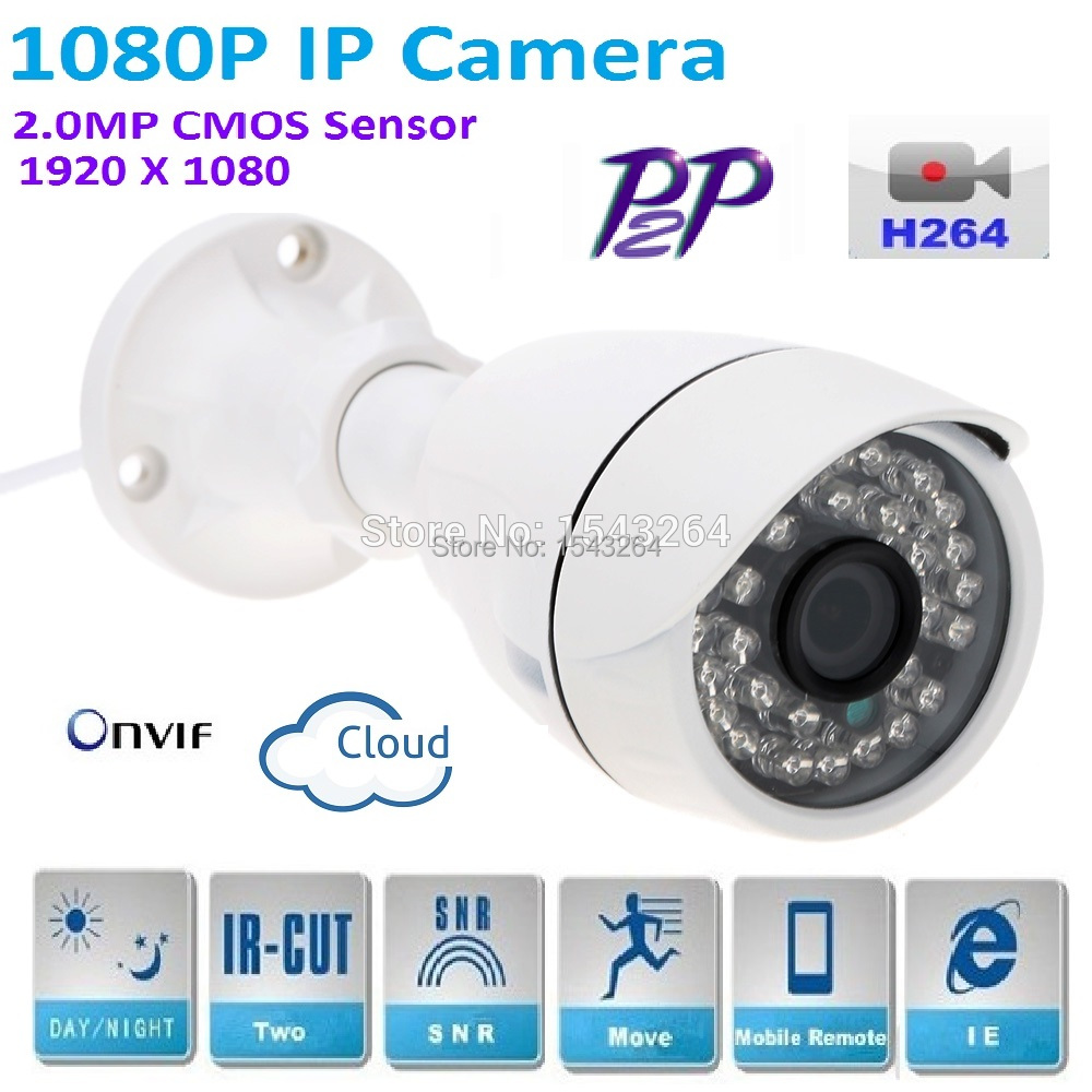 H.264 Security CCTV Full HD 1920*1080 2.0Megapixel 1080P IP Bullet network Camera with P2P, IR Cut Filter ,ONVIF plug and play bullet camera tube camera headset holder with varied size in diameter