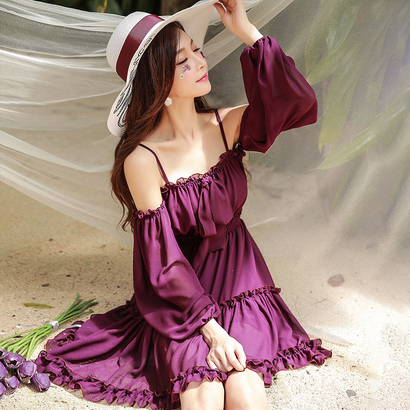 Dabuwawa Spring Sexy Halter Ruffles Chiffon Dress for Girls Women 2019 New Long Sleeve Beach Holiday
