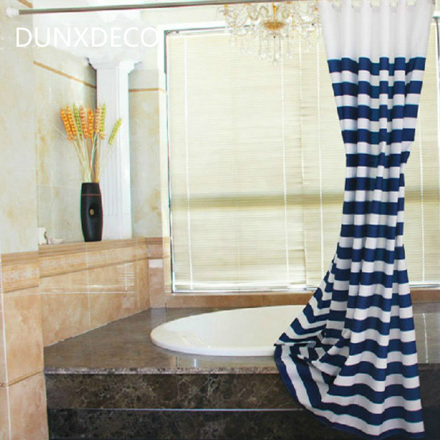 DUNXDECO Shower Curtain Bathroom Waterproof Cortinas Popular Summer Style  Navy Blue Stripe Print Polyester Fabric Rideau