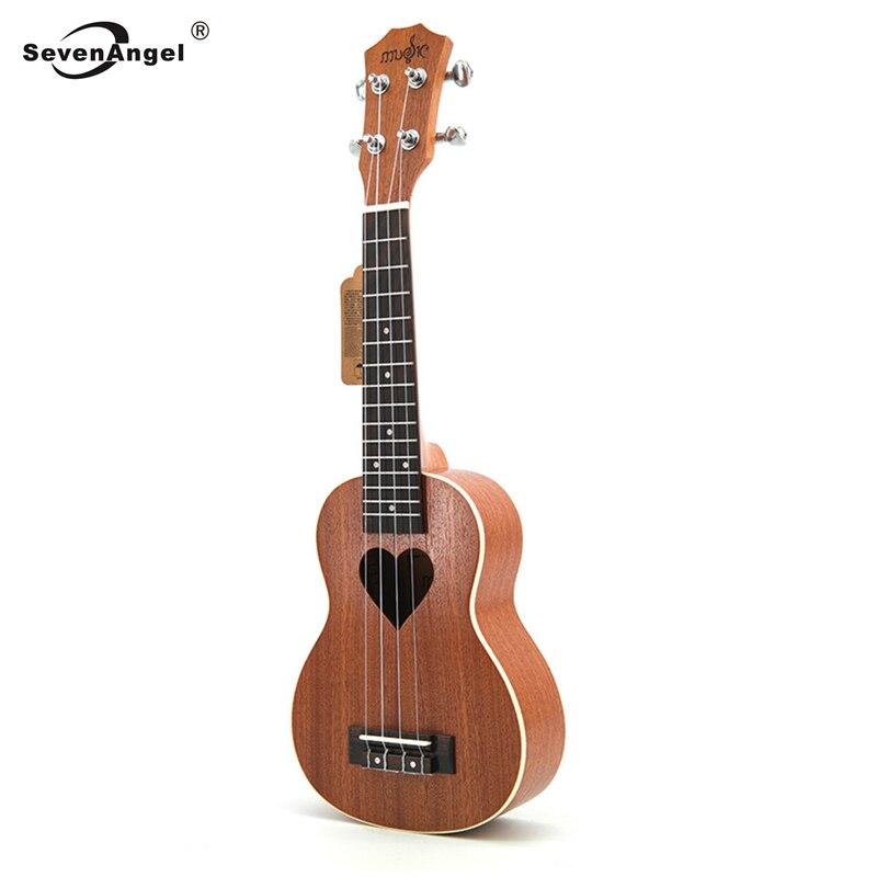 SevenAngel 21' Ukulele Soprano Four Strings Hawaii Mini Guitar Ukelele Acoustic Guitar Heart  Pattern Guitarra Chitarra