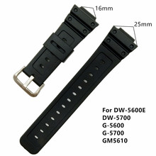16mm Black PVC Watch BAND Strap Fits DW-5600E DW-5700 G5600 5700 GM-5610