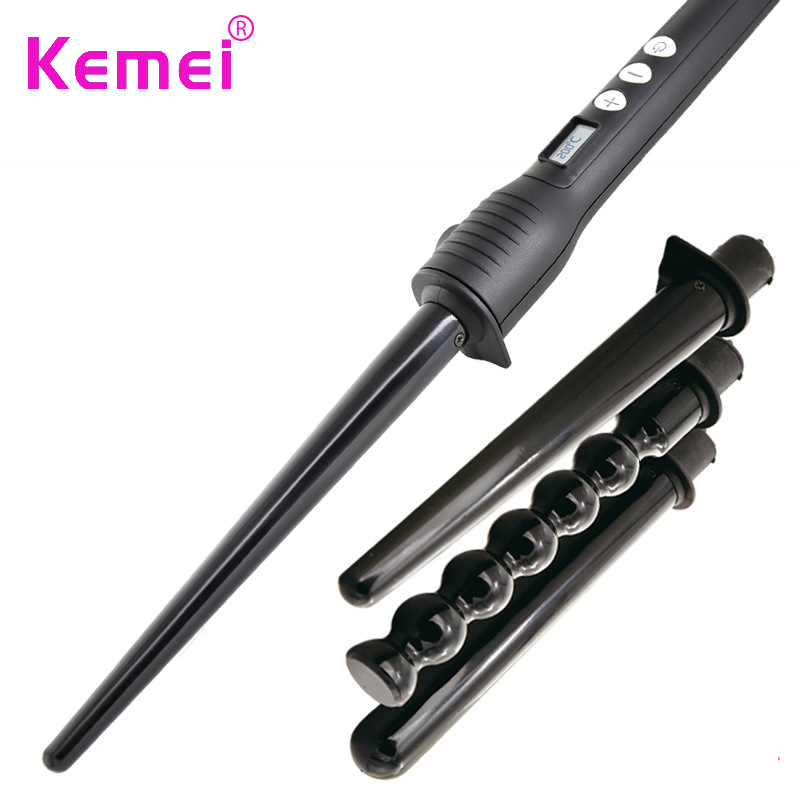 Kemei 4 in 1 Professional Hair Curler Roller Removable Curling Iron Conical Curling Wand Set Hair Styling Tool ckeyin 9 31mm ceramic curling iron hair waver wave machine magic spiral hair curler roller curling wand hair styler styling tool
