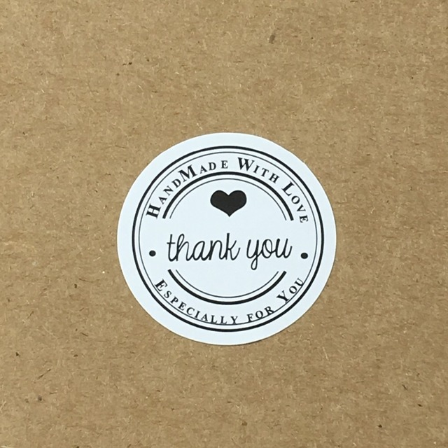 500PCS Lot 3cm Round THANK YOU Labels White Stickers Handmade With Love Paper