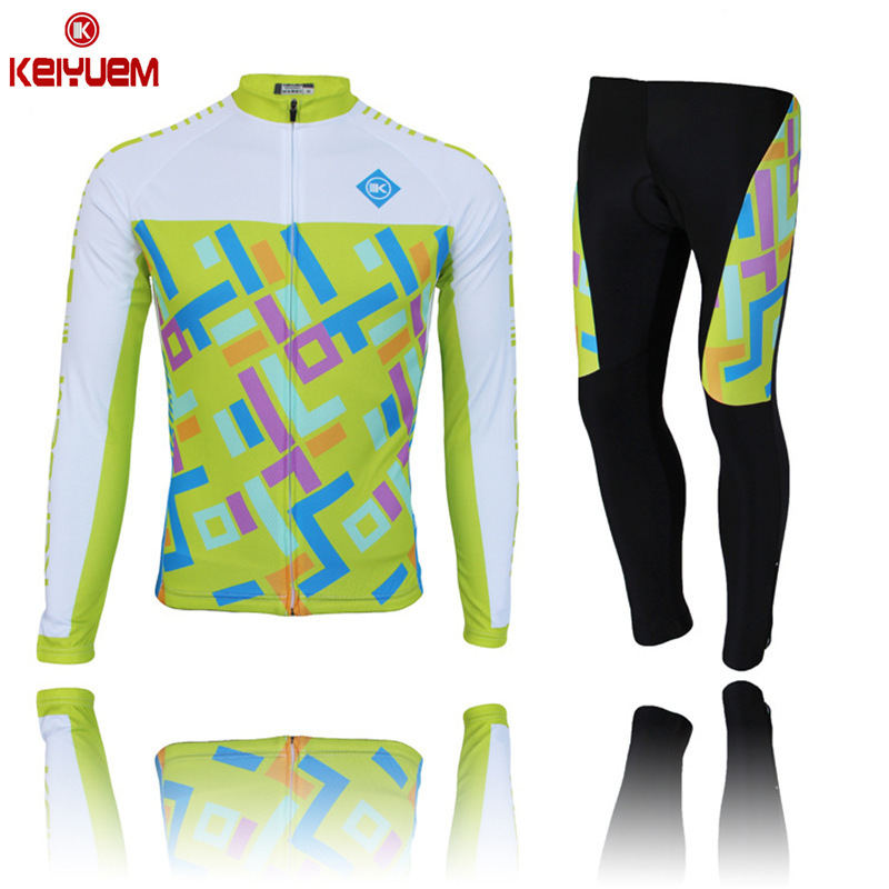 KEIYUEM K Pro Thin Long Sleeve Womens Cycling Jersey Set Sportswear Mtb Road Bike Bicycle 3D Gel Padded Cycling Clothing Kit