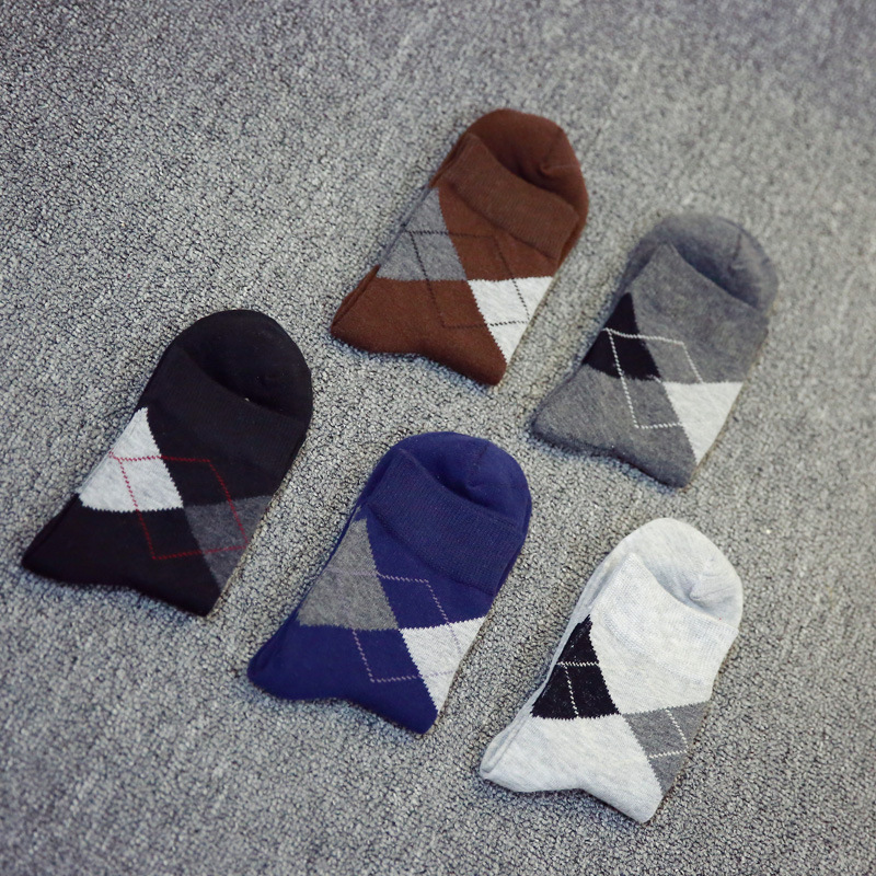 5 pairs/lot Men Socks Cotton Brand Casual Dotted Line Diamond Male Socks Fashion Business Man Colorful Socks P010