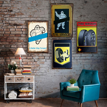 Tyre Services Retro Plaque Wall Decor for Bar Pub Kitchen Home Vintage Metal Poster Plate Signs Painting 1001(121)