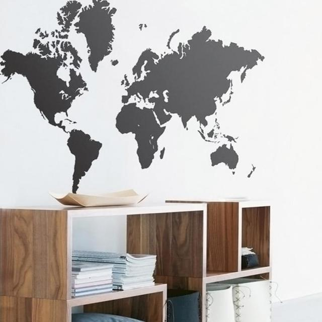 extra large black map of world wall stickers home decoration bedroom