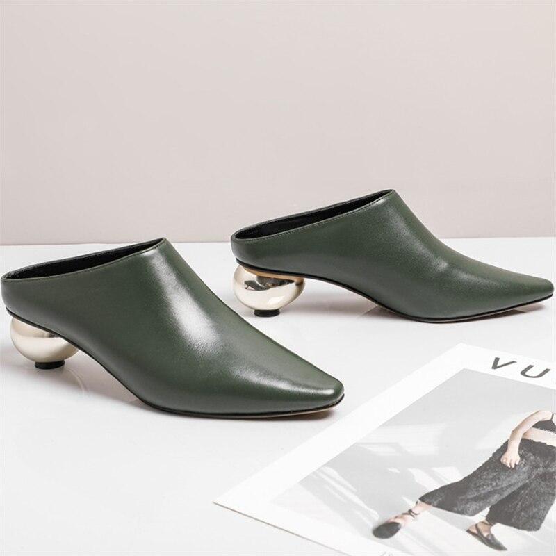 Cuir Xinbest De Étrange Femme En Pointu Sexy 2019 Luxe Style Bout Vache vert Pour Chaussons Noir Mode D'été Femmes Chaussures WHIDE92