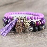 Purple Tassel Natural Stones Matte Onyx Rose Golden Fatima Hand Charm Leopard Bracelets Women Romantic Style
