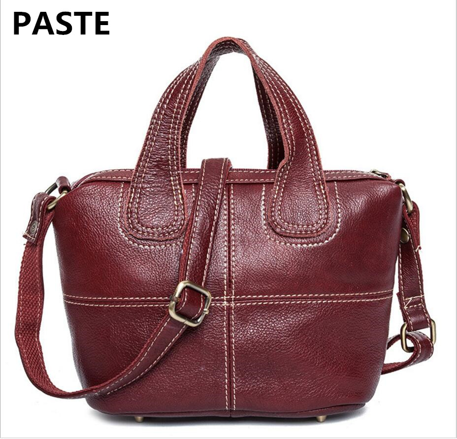 PASTE The First Layer Leather Women's Shoulder Bag European American Fashion Leather Handbags Trend Pure Color Female Handbag paste new leather handbags first layer of leather shoulder bag messenger bag handbag white casual bag female shoulder bag