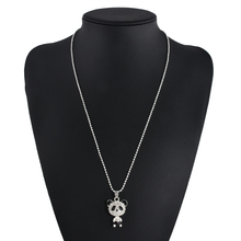 Best Pretty Enamel Rhinestone Panda Pendant Crystal Necklace Cheap