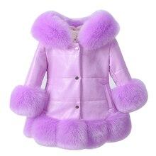 Куртка кусочков PU искусственной кожи с воротником искусственного лисьего меха для маленьких девочек пальто пуховики утепленное пальто зимняя верхняя одежда принцессы пальто с мехом