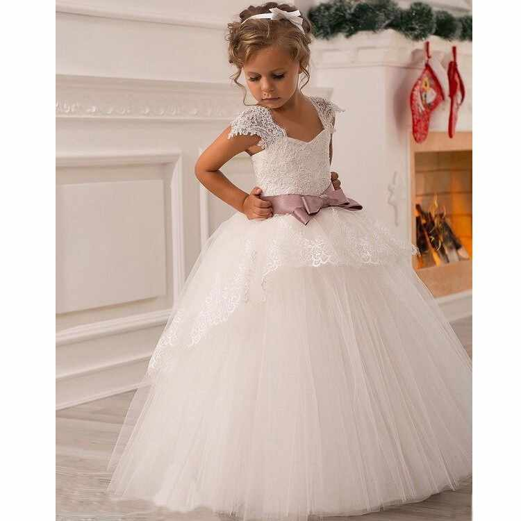 bdfd05c13d7 ... 2017 New White Puffy Lace Bow Girl Dress Weddings Long Ball Gown Kids  Party Communion Pageant ...