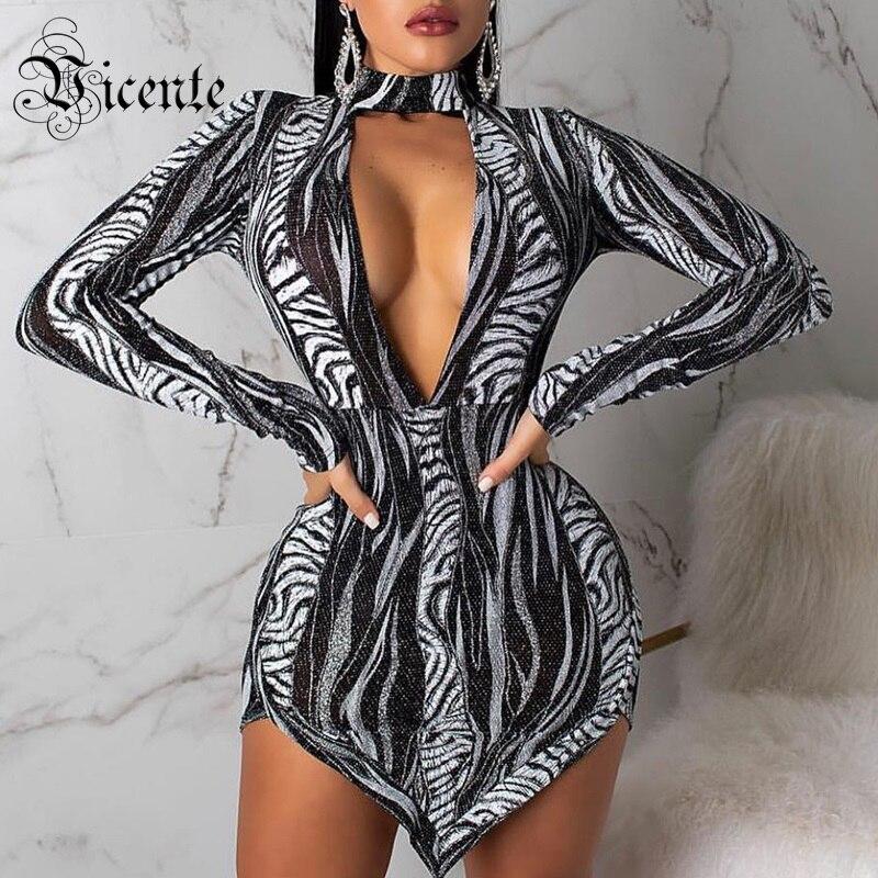 Cou Longues Sexy Celebrity Party Manches Robe Profonde Géométrique Vicente De 2019 Couleur Bloc Mini V Conception New Multi Trendy Club ycZ6OP48S