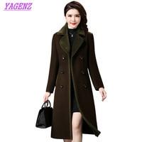 رشاقته الخريف الشتاء الصوف الصوف معطف سترة النساء ضئيلة طويلة الشابات عالية الجودة زائد الحجم بني داكن معطف 4xl b453