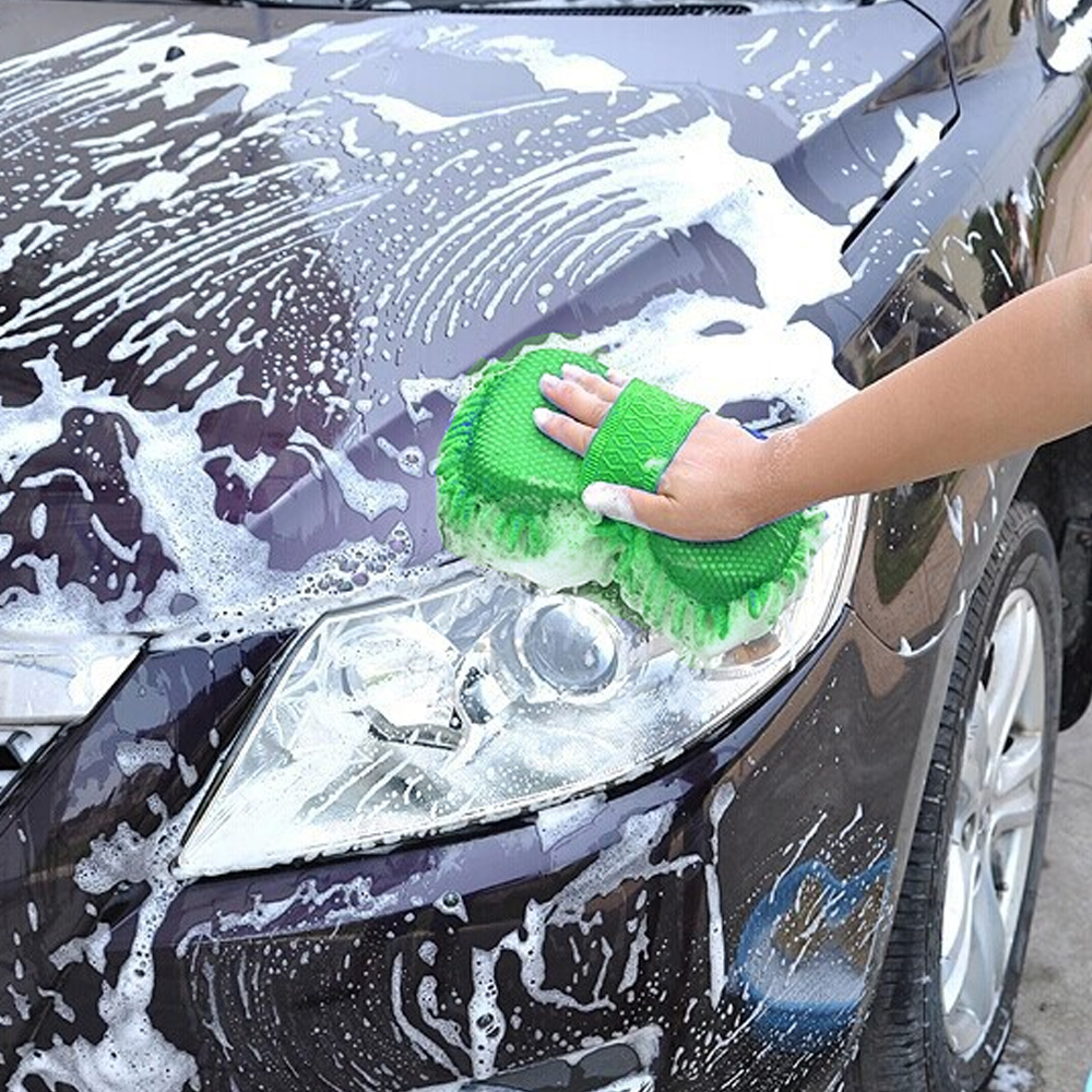 Car Washer Green Car Accessories Cleaning Tool Car-styling Chenille Microfiber Auto Care Chenille Cleaning Washing Gloves