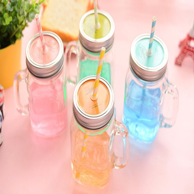 450MLGlass storage bottle Jars Mason Jar glass cup beverage mug with lid straw juice bottle with handle storage bottle cups