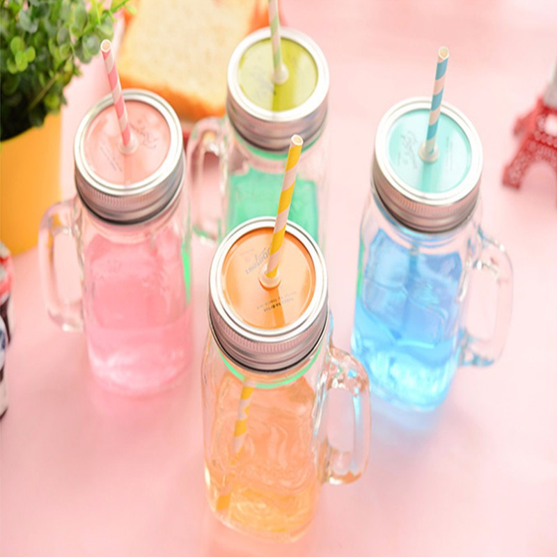 450MLGlass storage bottle Jars Mason Jar glass cup beverage mug with lid straw juice bottle with handle storage bottle cups ...