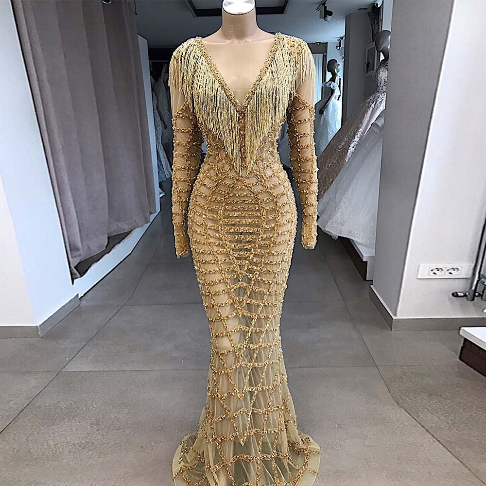 High-end Gold Rhinestones Mermaid   Evening     Dresses   Long Sleeve Formal Gown Competition 2020 YQLNNE