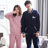 Men Pajama Set winter new Long Sleeve Cotton Cardigan Man Pyjamas letter Thickened quilted Pajamas Plus size Couple Sleepwear