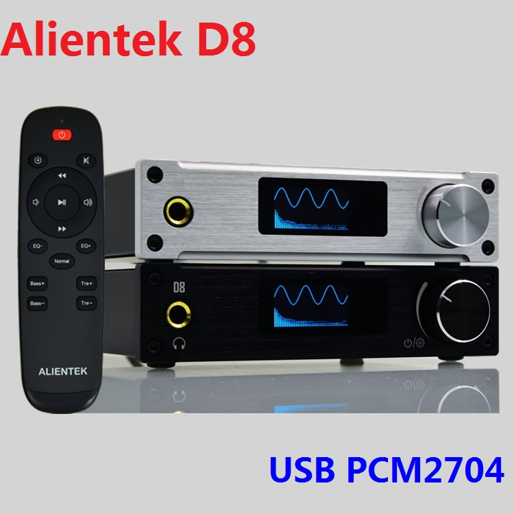 2018 Alientek D8 Full Digital Audio Headphone Amplifier USB PCM2704 Input Coaxial/Optical/AUX 80W*2 24Bit/192KHz Remote Control alientek d8 class d xmos 80w 2 mini hifi stereo audio digital amplifier coaxial optical usb amplifier power supply