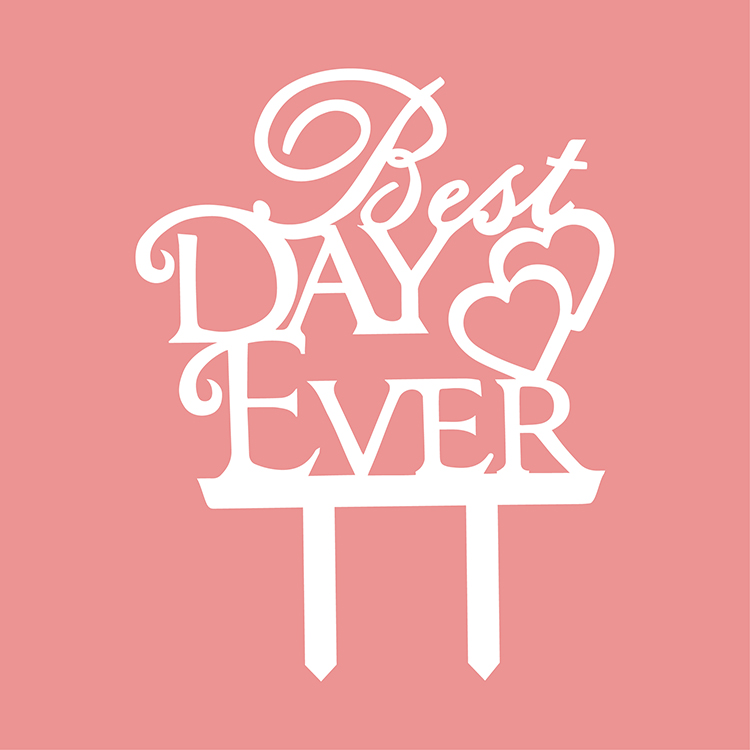 Best Day Ever Love Heart Wedding Cake Flags Black White Gold Silver Acrylic Cake Topper Wedding Anniversary Party Cake Decor-3