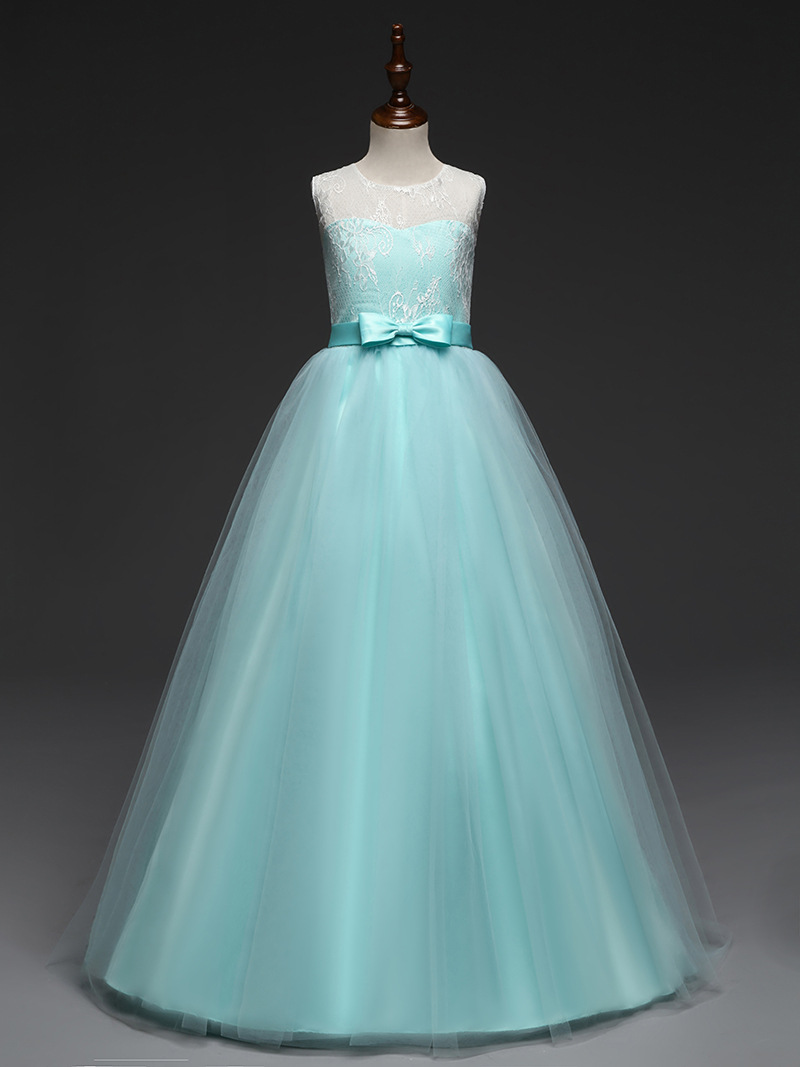 Teenage Kids Flower Dresses Wedding Gown Floor Length Mint Green Lavender Peach Party Gowns Dress for Girls 4-12 To 14 Years princess gowns luxury girls gowns ceremony girls long dresses for party and wedding clothes for teenage girls 14 to 17 years old