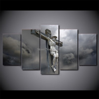 High Quality 5 Pieces Jesus Glory To God Printed Canvas Painting Living Room Wall Art Pictures