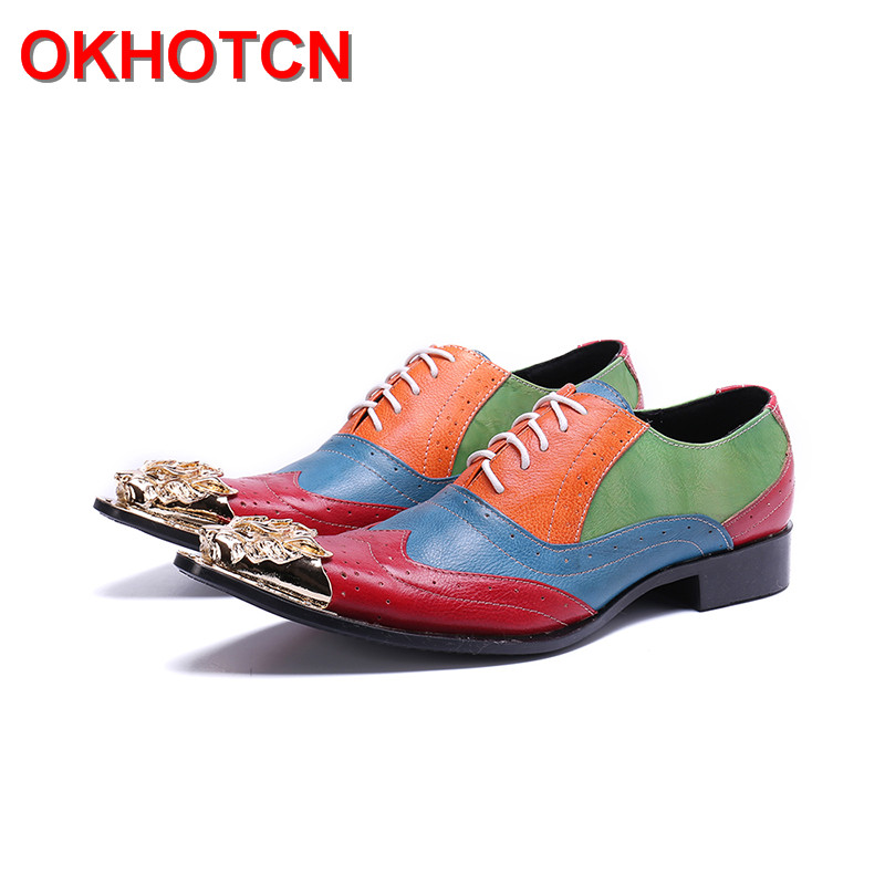 Fashion Genuine Leather Shoes For Men Lace Up Dress Shoes Mixed Colors Brogue Shoes Big Size 47 Italian Shoes Designer Metal ToeFashion Genuine Leather Shoes For Men Lace Up Dress Shoes Mixed Colors Brogue Shoes Big Size 47 Italian Shoes Designer Metal Toe