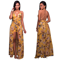 Berrygo Floral Print Halter Dress Women Backless Larga De La Gasa 2017 Vestidos Maxi Vestidos Sexy