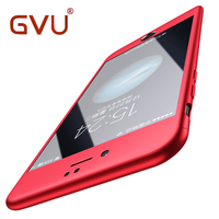 GVU Full Cover Red Case For IPhone 6 6S 5S 5 With Tempered Glass 360 Degrees