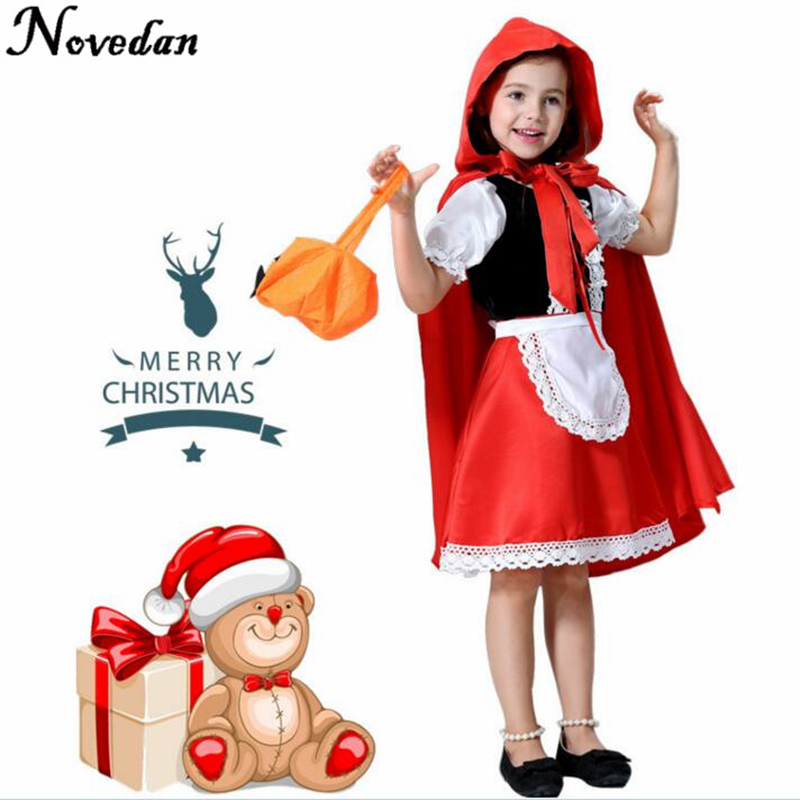 Children Girl Little Red Riding Hood Cosplay Dress Princess Halloween Costume DS Clothing For Party