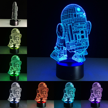 Novelty 3D Night Light LED Bedside Lamp Table Desk Lampe Cool Star Wars R2D2  Robot Lamparas USB Nightlight Luminarias For Kids