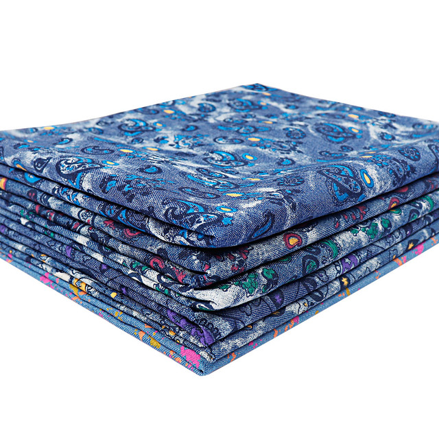 AHB 40*50CM Thick Denim Fabric Colorful Amoeba Paint Dots Denim Fabric DIY Skirt Sewing Quilt Patchwork Handmade Crafts Supplier