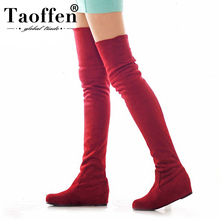 TAOFFEN Large Size 34-47 Over Knee Boots Woman Add Fur Low Heels Autumn Winter Casual Women's Shoes Woman Fashion Female Boots