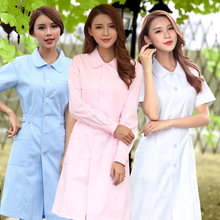 Flower this nurse suit long sleeve short sleeve waist slim small round neck white coat white blue pink drugstore overalls