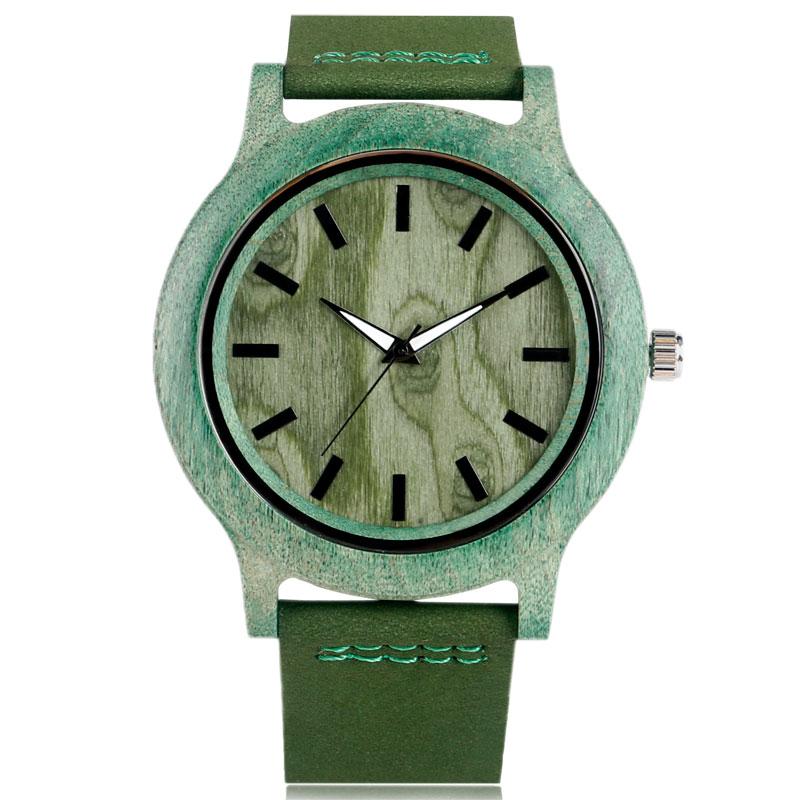 크리 에이 티브 나무 대나무 시계 망 미니멀리스트 - 남성 시계
