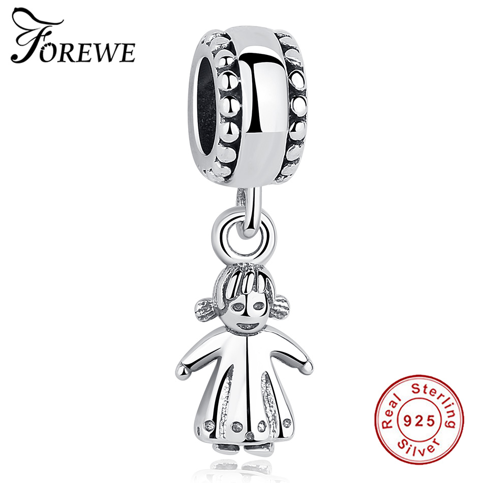 FOREWE Little Girl 925 Sterling Silver Beads Fit Authentic Pandora Charms Bracelet Silver 925 Original Women Jewelry Berloques